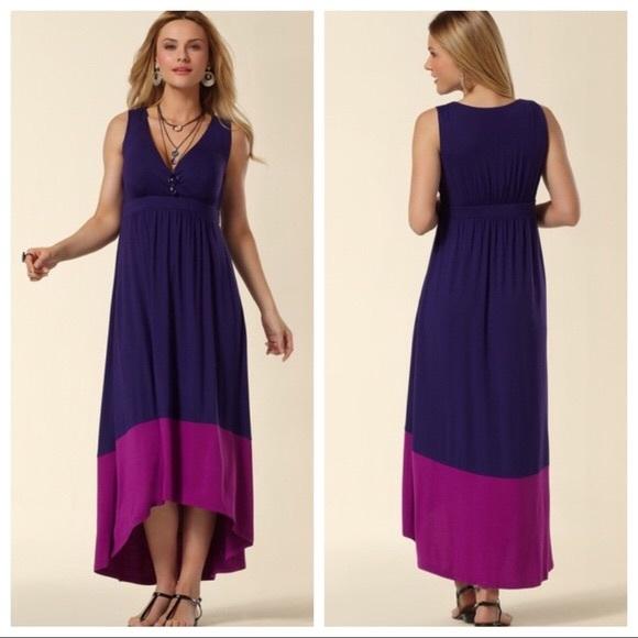a4ebb52ab6 Soma Dresses   Purple Pink Color Block High Low Maxi L   Poshmark